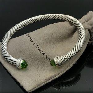 David Yurman 5mm Silver Peridot Diamond Bracelet